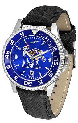 Memphis Tigers Men's Competitor AnoChrome Color Bezel Leather Band Watch
