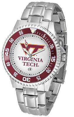 Virginia Tech Men's Competitor Stainless Steel AnoChrome with Color Bezel