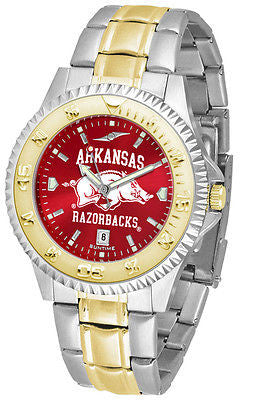Arkansas Razorbacks Men's Competitor Stainless Steel AnoChrome Two Tone Watch