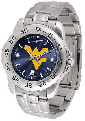 West Virginia Men's Stainless Steel Sports AnoChrome Watch