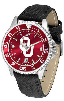 Oklahoma Sooners Men's Competitor AnoChrome Color Bezel Leather Band Watch