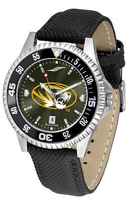 Missouri Tigers Men's Competitor AnoChrome Color Bezel Leather Band Watch