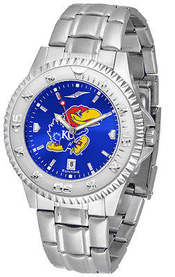 Kansas Jayhawks Men's Competitor Stainless Steel AnoChrome Watch