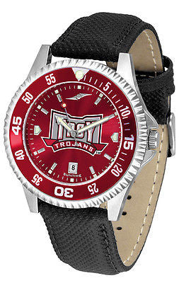 Troy University Men's Competitor AnoChrome Color Bezel Leather Band Watch