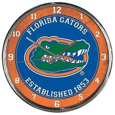 Florida Gators Round Chrome Wall Clock