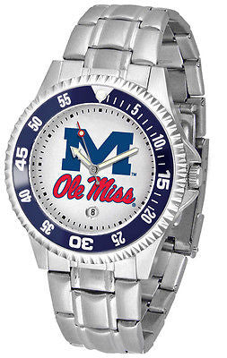 Mississippi Ole Miss Rebels Men's Competitor Stainless Steel AnoChrome with Color Bezel