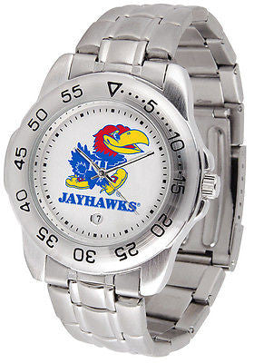 Kansas Jayhawks Men's Sports Stainless Steel Watch
