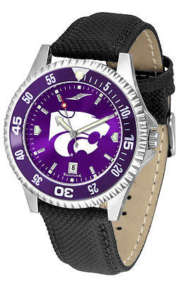 Kansas State Men's Competitor AnoChrome Color Bezel Leather Band Watch