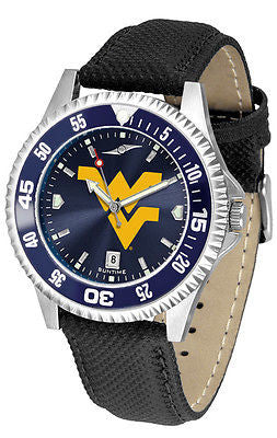 West Virginia Men's Competitor AnoChrome Color Bezel Leather Band Watch