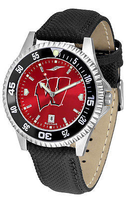 Wisconsin Badgers Men's Competitor AnoChrome Color Bezel Leather Band Watch