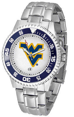 West Virginia Mountaineers Men's Competitor Stainless AnoChrome with Color Bezel