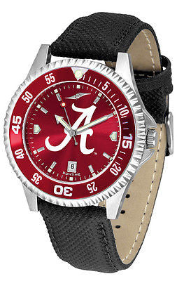 Alabama Men's Competitor AnoChrome Color Bezel Leather Band Watch