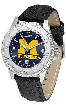 Michigan Wolverines Men's Competitor AnoChrome Leather Band Watch