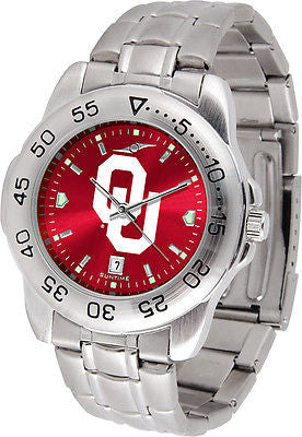 Oklahoma Sooners Men's Stainless Steel Sports AnoChrome Watch