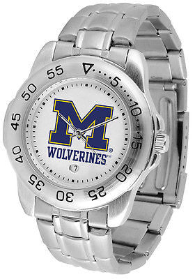 Michigan Wolverines Men's Sports Stainless Steel Watch