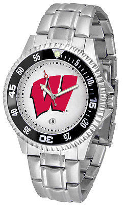 Wisconsin Badgers Men's Competitor Stainless Steel AnoChrome with Color Bezel