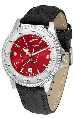 Wisconsin Badgers Men's Competitor AnoChrome Leather Band Watch
