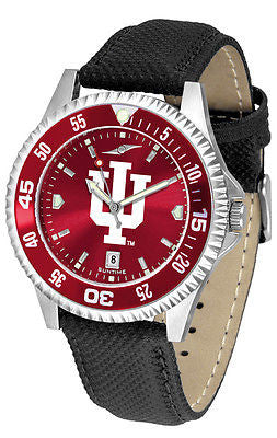 Indiana Hoosiers Men's Competitor AnoChrome Color Bezel Leather Band Watch