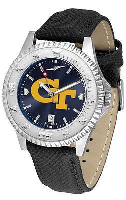 Georgia Tech Men's Competitor AnoChrome Leather Band Watch