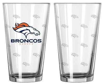 Denver Broncos Etched Pint Glass Set