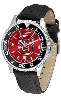 North Carolina State Men's Competitor AnoChrome Color Bezel Leather Band Watch