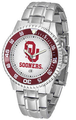 Oklahoma Sooners Men's Competitor Stainless Steel AnoChrome with Color Bezel