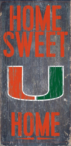 Miami Hurricanes Home Sweet Home Wood Wall Sign
