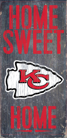 Kansas City Chiefs Home Sweet Home Wood Wall Sign