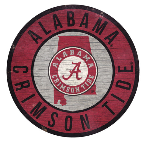 "Alabama Crimson Tide 12"" Round Wood Team Sign"
