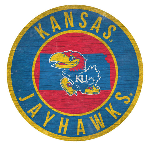 "Kansas Jayhawks 12"" Wooden Wall Team Sign"