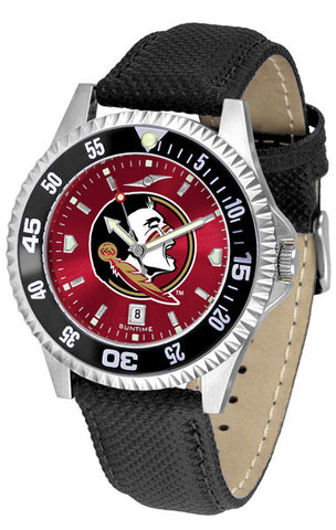 Florida State Men's Competitor AnoChrome Color Bezel Leather Band Watch