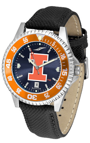 Illinois Men's Competitor AnoChrome Color Bezel Leather Band Watch