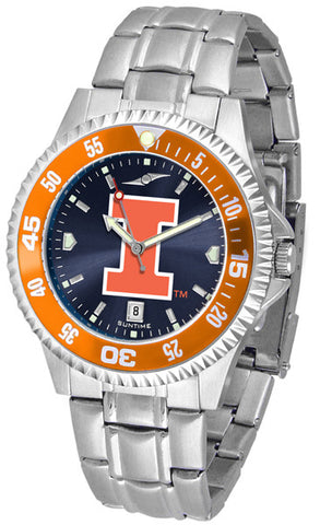 Illinois Men's Competitor Stainless Steel AnoChrome with Color Bezel Watch