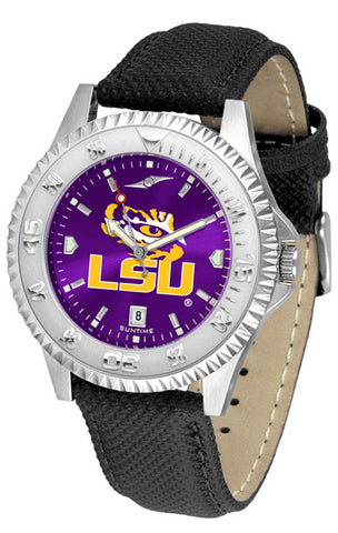LSU Tigers Men's Competitor AnoChrome Leather Band Watch