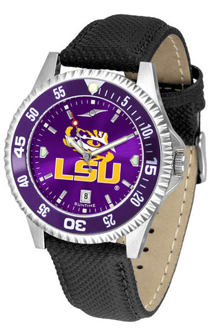 LSU Tigers Men's Competitor AnoChrome Color Bezel Leather Band Watch