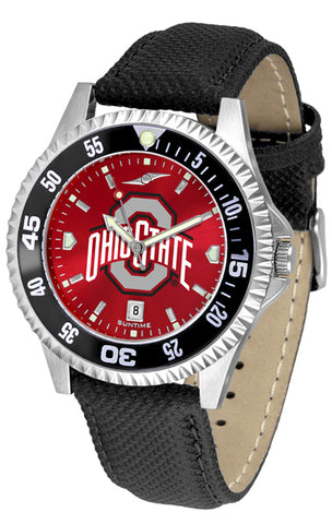 Ohio State Buckeyes Men's Competitor AnoChrome Color Bezel Leather Watch