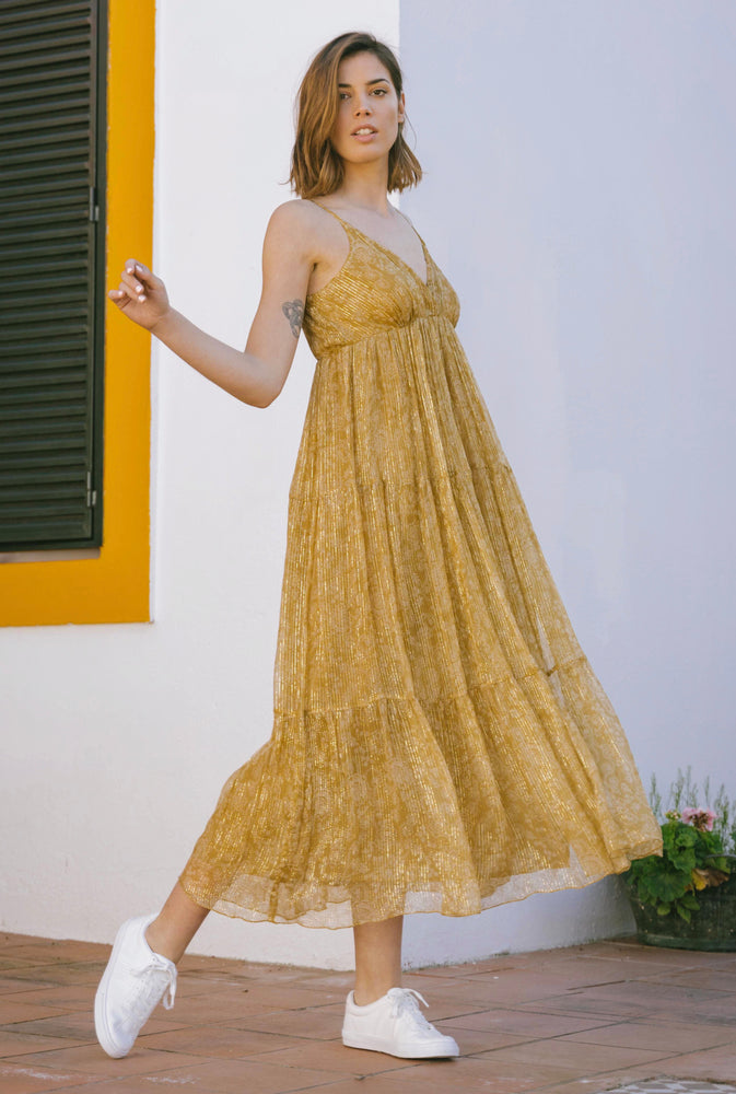 Load image into Gallery viewer, Sarah Dress - Mosaique Mustard