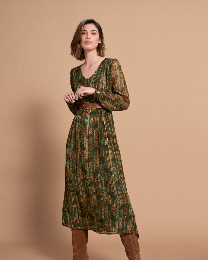 Load image into Gallery viewer, Valerie Dress - Olive Feuilles Satin