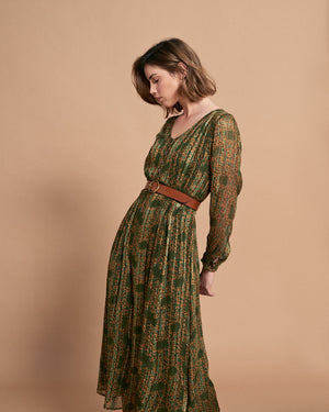 Valerie Dress - Olive Feuilles Satin