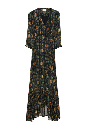 Load image into Gallery viewer, Chloe Dress - Midnight Sunflower Satin