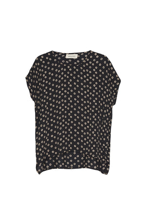 Load image into Gallery viewer, Fatima Top - Black Safari Polka