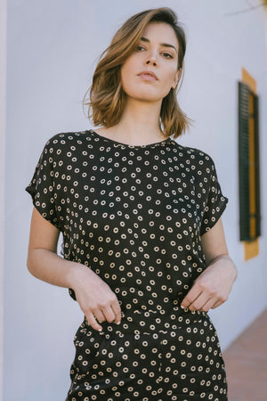 Fatima Top - Black Safari Polka