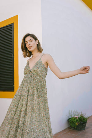 Load image into Gallery viewer, Sarah Dress - Flower Olive