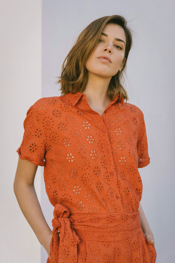 Load image into Gallery viewer, Laila Blouse - Broderie Coral