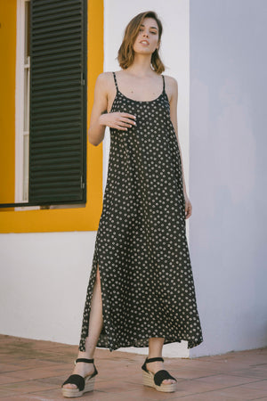 Bella Dress - Black Safari Polka