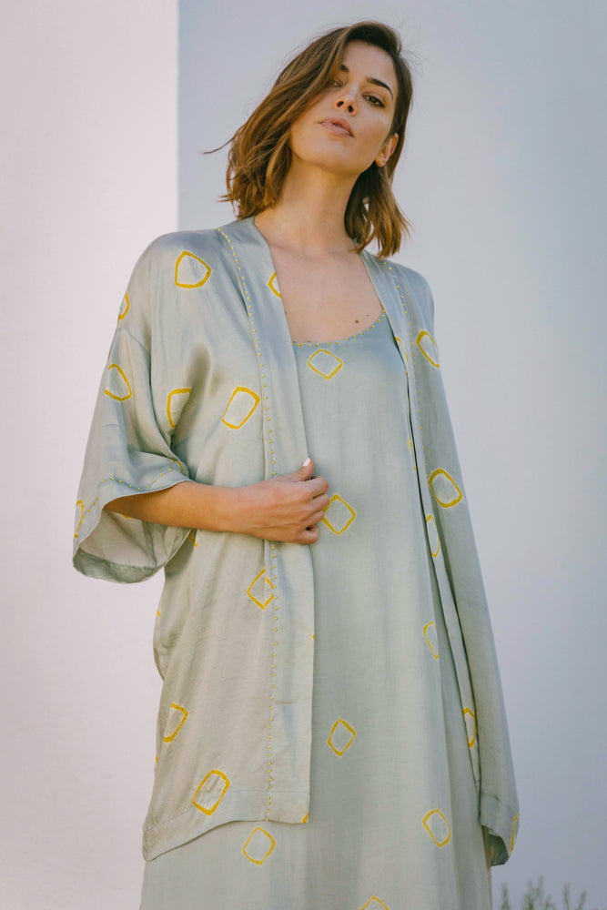 Load image into Gallery viewer, Estelita Kimono - Aqua Tie-Dye