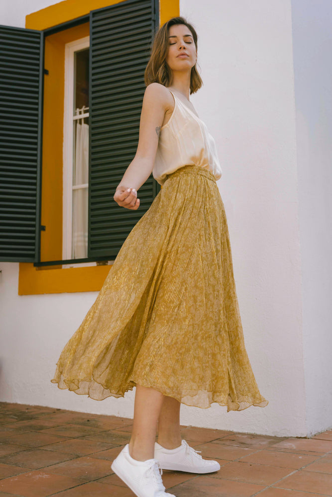 Load image into Gallery viewer, Tawni Skirt - Mosaique Mustard