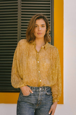 Load image into Gallery viewer, Femi Blouse - Mosaique Mustard