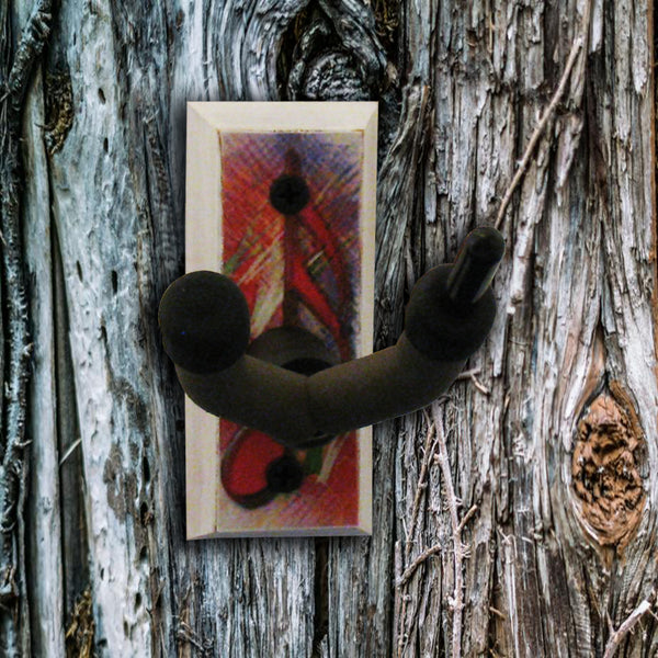 Viola Wall Hanger - 16th Note in Red - Distressed Reclaimed Oak