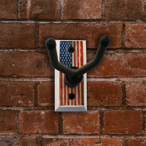 American Flag Ukulele Wall Hanger - Distressed Reclaimed Oak